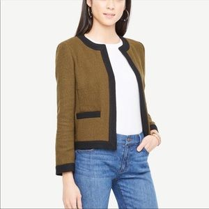 Ann Taylor Tweed Open Jacket In Spruce Frond S